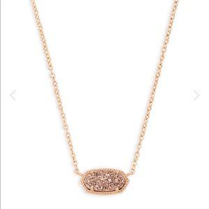 Elisa Rose Gold Pendant Necklace In RoseGold Drusy